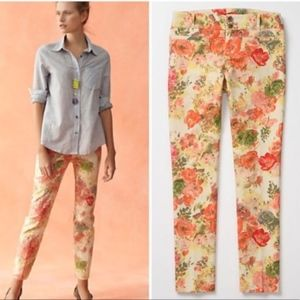Anthropologie Cartonnier Floral Charlie Crop Pants